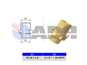 RAUFOSS 6237714 - TRANSFER ADAPTER 3/4'' 14 NPTF - M22X1,5