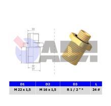 RAUFOSS 6239115 - BULKHEAD COUPLING AND 24° CONE M12X1,5 CONE 24° T 6 - M12X1,